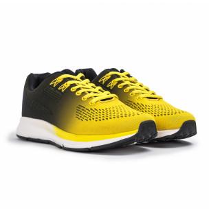 Плетени мъжки маратонки жълт градиент 2