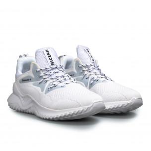 Мъжки текстилни бели маратонки с детайли  2