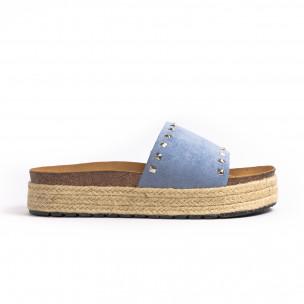 Дамски чехли с капси в синьо