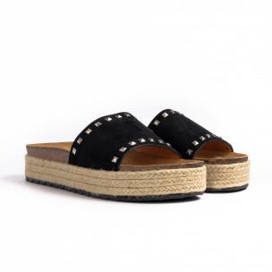 Дамски чехли с капси в черно 2