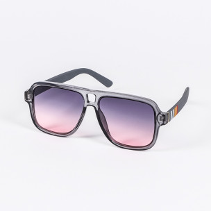 Опушени слънчеви очила масивна рамка в сиво