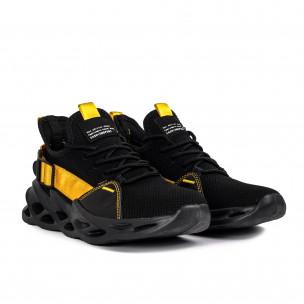 Мъжки маратонки Chevron в черно и жълто Kiss GoGo 2