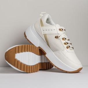 Комбинирани дамски маратонки в бяло  2