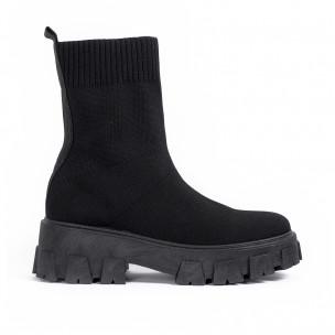 Slip-on дамски черни боти тип чорап