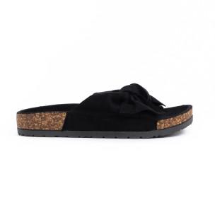 Черни дамски чехли с панделка