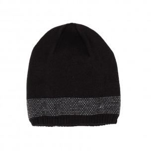 Мъжка черна шапка с кант двойна плетка 2