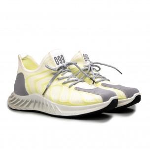 Мъжки бели маратонки жълт меланж  2