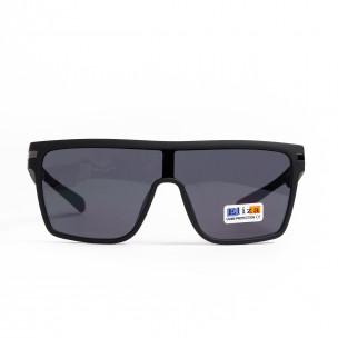 Трапецовидни черни очила тип маска