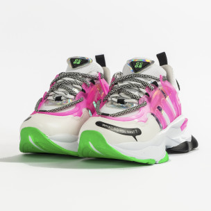Chunky маратонки с прозрачни детайли розов неон 2