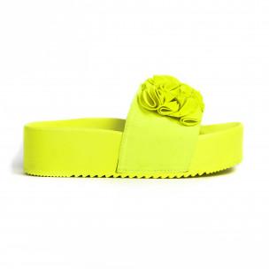 Дамски чехли на платформа жълт неон