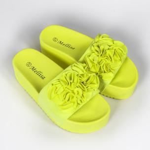 Дамски чехли на платформа жълт неон. Размер 39  2