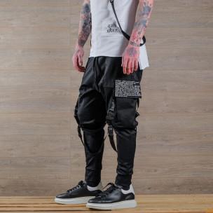 Мъжки еластичен панталон с акценти 2