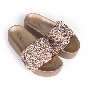Дамски чехли на платформа златисти пайети  2