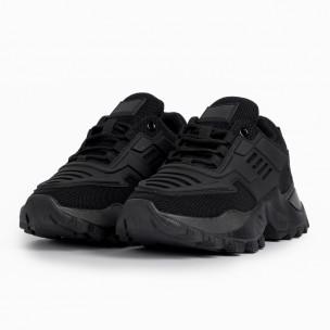 Дамски черни маратонки с гумиран детайл  2