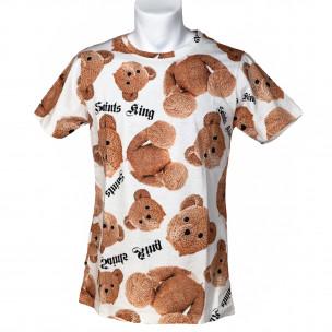 Мъжка тениска Teddy Bear в бяло Made in Italy