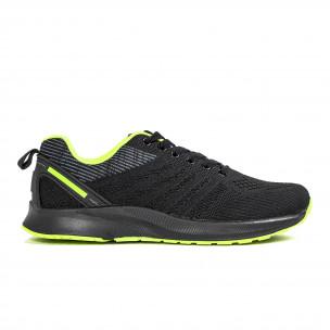 Черни мъжки маратонки с неонов акцент