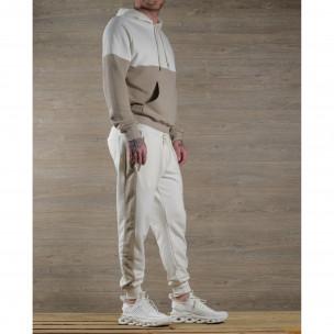 Мъжки памучен спортен комплект бяло и бежово 2