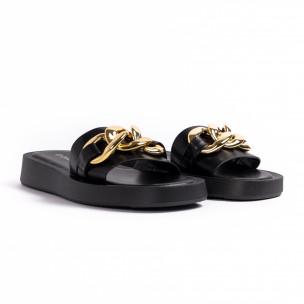 Дамски черни чехли с верига 2