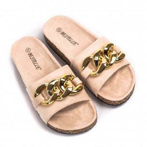 Дамски бежови велурени чехли с верига 2