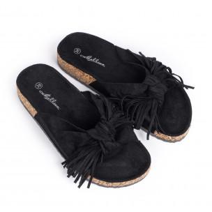 Дамски чехли с ресни в черно  2