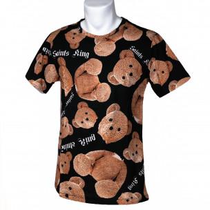 Мъжка тениска Teddy Bear в черно