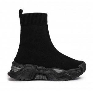 Chunky черни високи маратонки тип чорап Fashion&Bella