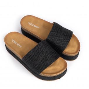 Дамски чехли с конопен кант в черно  2
