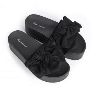 Черни дамски чехли на платформа с панделка  2