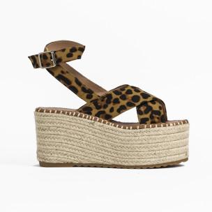 Дамски сандали на платформа леопард