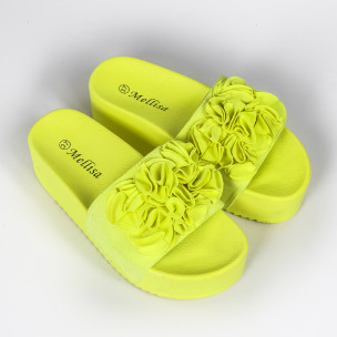 Дамски чехли на платформа жълт неон  2