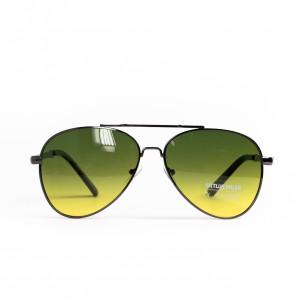 Пилотски очила опушени в жълто-зелено
