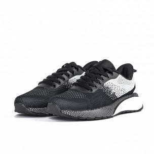 Плетени мъжки маратонки черно и бяло  2