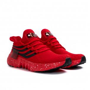 Червени маратонки чорап с гумиран детайл  2