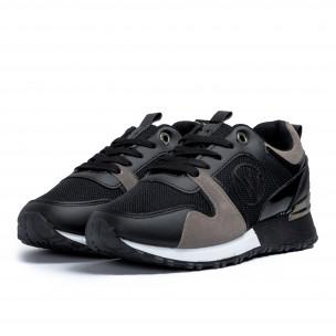 Дамски маратонки в черно и сиво 2