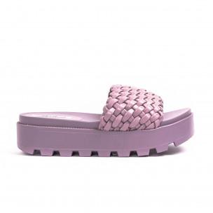 Дамски лилави чехли на платформа с грайфер 2
