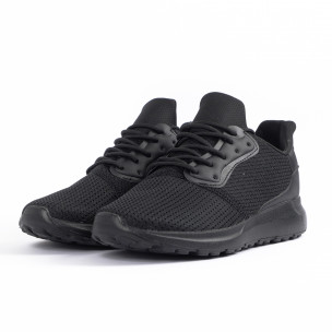 All black мъжки маратонки текстуриран текстил 2