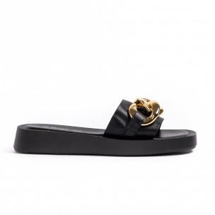 Дамски черни чехли с верига