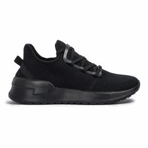 All black мъжки маратонки тип чорап Lace detail