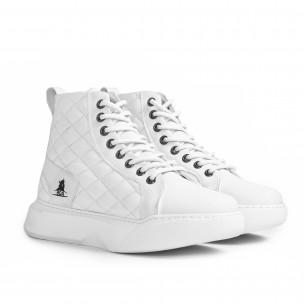 Капитонирани бели високи кецове All white  2