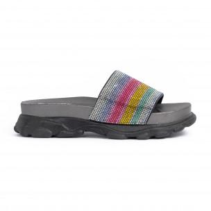 Дамски джапанки Rainbow Chunky в черно