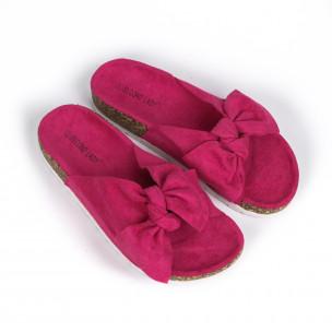 Розови дамски чехли с панделка  2