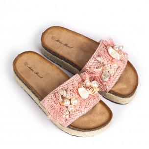 Розови дамски чехли морска декорация  2