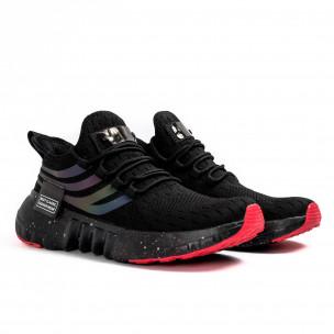 Черни маратонки чорап с гумиран детайл  2
