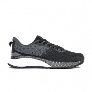 Плетени мъжки маратонки черно и сиво