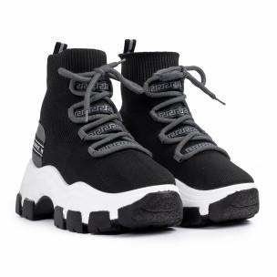 Chunky маратонки чорап в черно и сиво  2