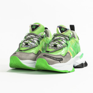 Chunky маратонки с прозрачни детайли зелен неон 2