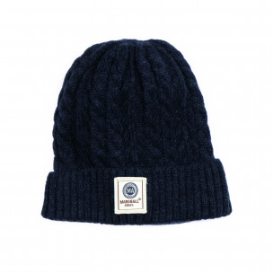Мъжка синя шапка с плетеници