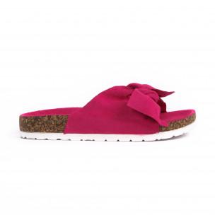 Розови дамски чехли с панделка