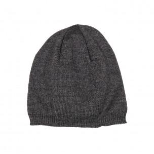 Basic мъжка плетена шапка сив меланж