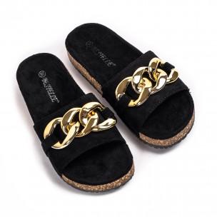 Дамски черни велурени чехли с верига 2